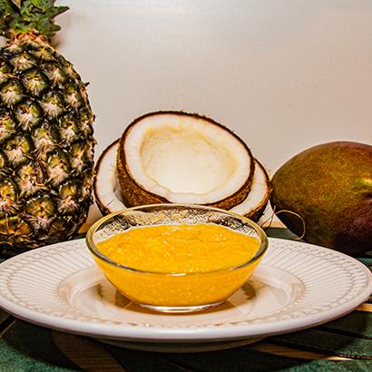 Sorbet de abacaxi, manga e coco