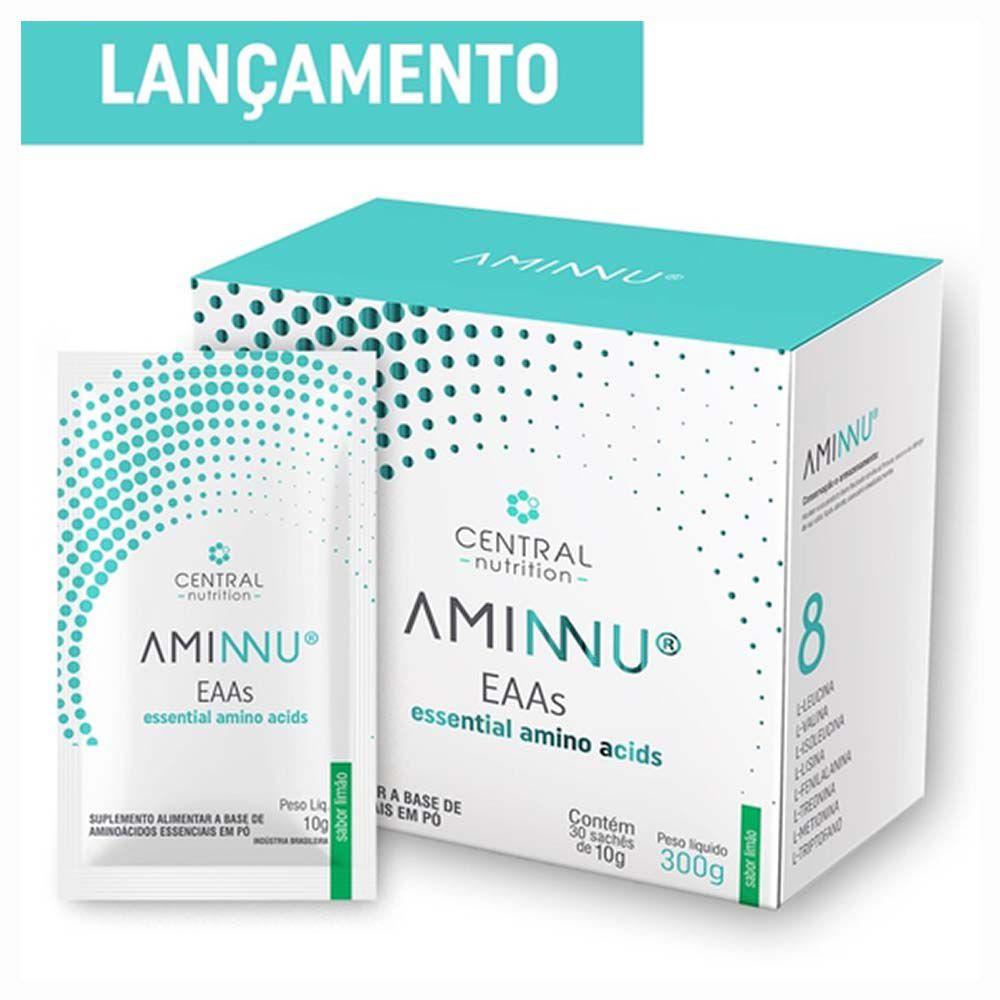 AMINNU AMINOÁCIDOS ESSENCIAIS 300G (30 SACHÊS) LIMÃO - CENTRAL NUTRITION