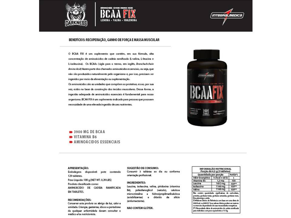 BCAA FIX DK 120TABS - INTEGRALMEDICA