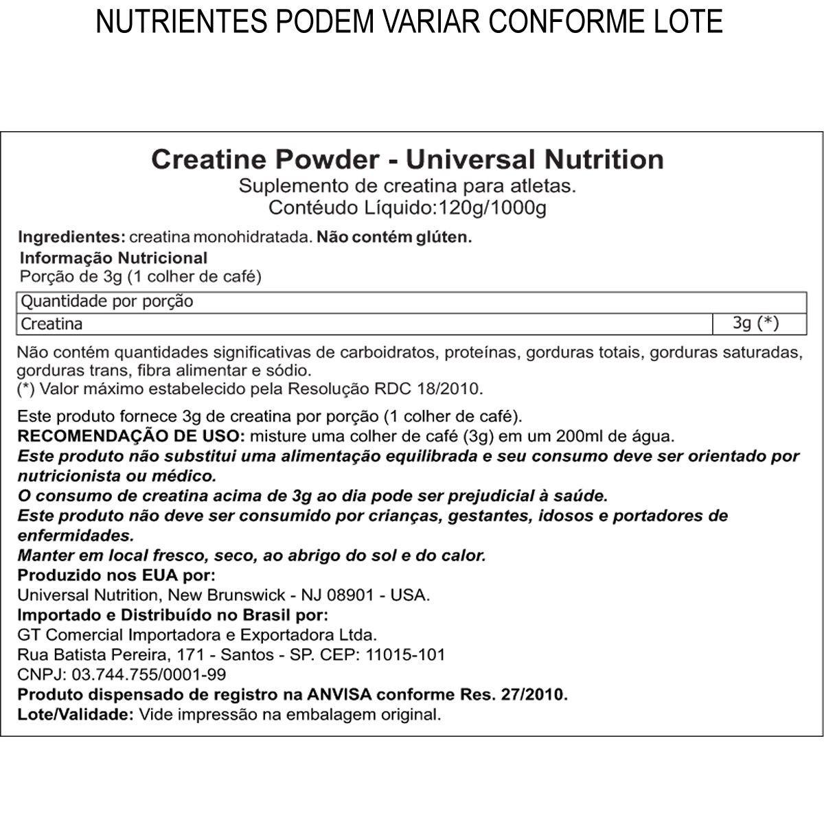 CREATINA POWDER COMBO 200G+200G - UNIVERSAL NUTRITION