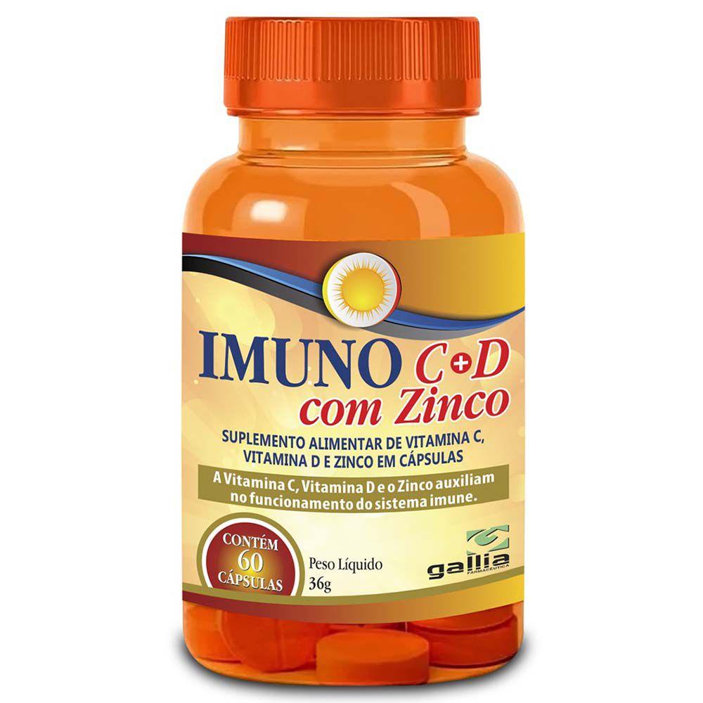IMUNO VITAMINA C + VITAMINA D COM ZINCO 60 CAPS - GALLIA