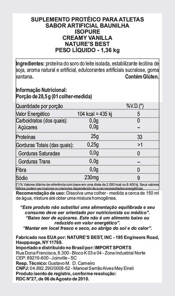 ISOPURE WHEY PROTEIN ISOLADO 1,3KG (3LBS) - NATURE'S BEST