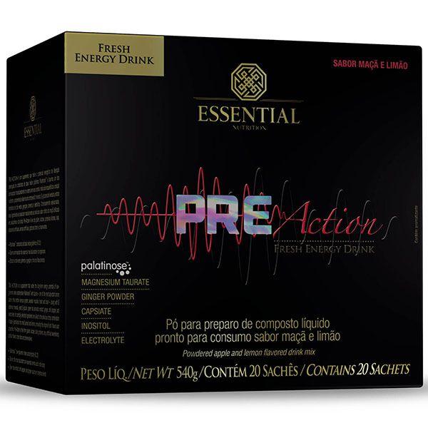 PRE ACTION ENERGY DRINK MAÇA E LIMÃO 540G (20 SACHÊS) - ESSENTIAL NUTRITION