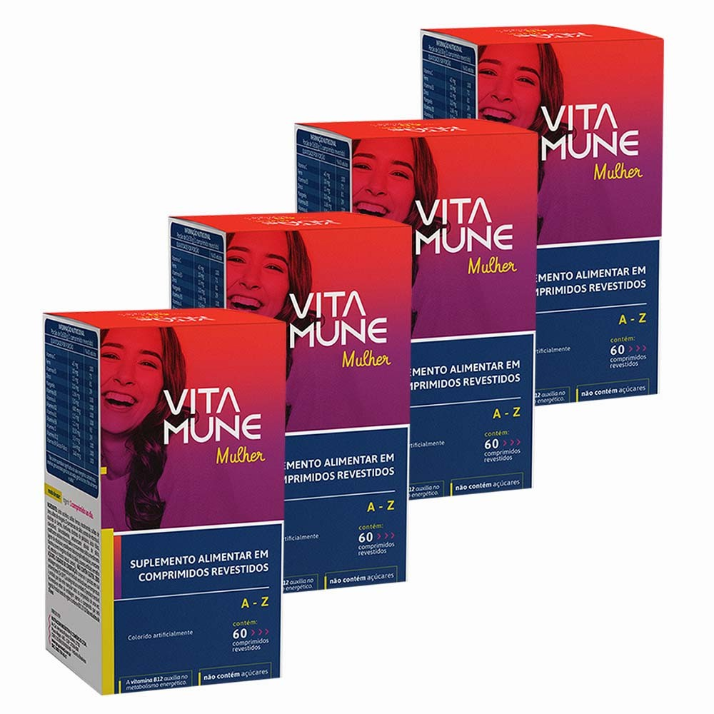 VITA MUNE MULHER KIT 4X SUPLEMENTO VITAMÍNICO MINERAL 60 CÁPS - ONE FARMA