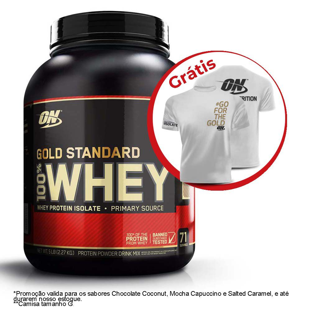 WHEY PROTEIN GOLD STANDARD 2,270G (5LB) + CAMISETA ON - OPTIMUM NUTRITION
