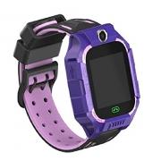 Relógio Rastreador Inteligente Infantil com Câmera Cartão SIM APP Tracker Anti-Perdido Lilas