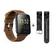 Relógio Smartwatch Q9 Cardíaco Pressão Ip67 Saúde + Pulseira extra (marrom)