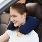 Travesseiro Inflável Almofada P/ Pescoço Viagem Plush Veludo