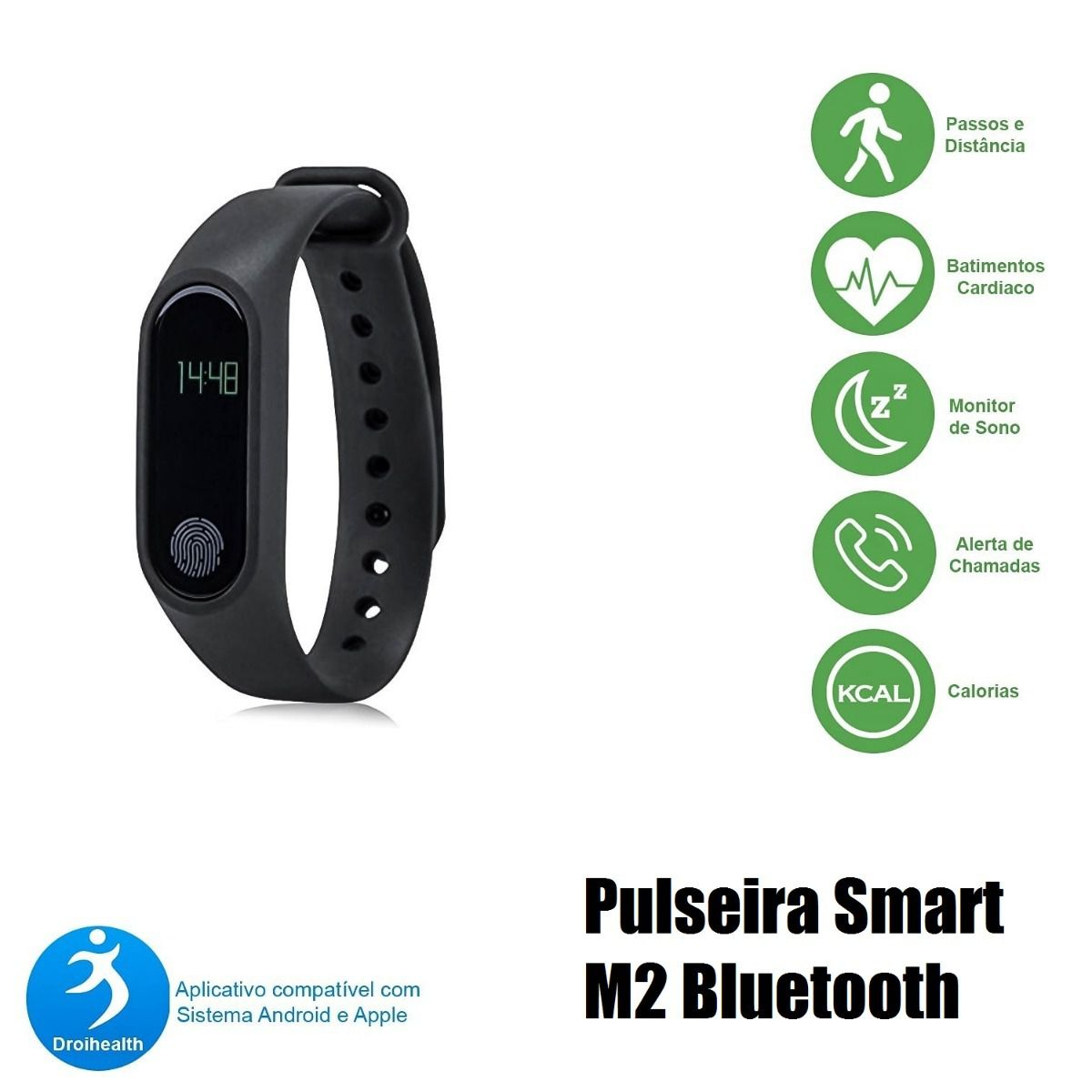 Bracelete Smart M2 Bluetooth Pulseira Medidor Cardíaco