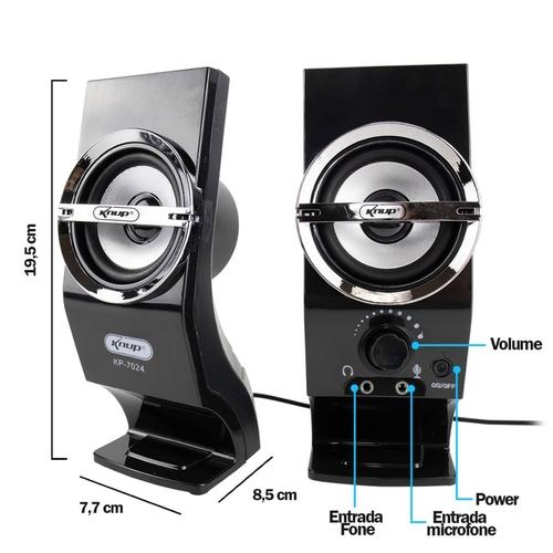 Caixa de Som 2.0 5 Watts Rms Para PC KP-7024