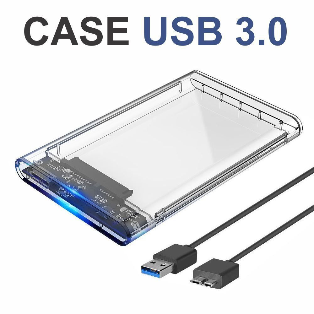 Case Hd Externo Transparente Notebook Sata 2.5 Usb 3.0