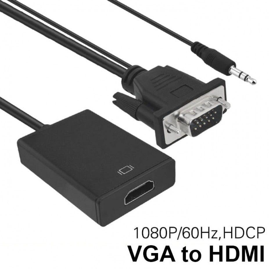 Conversor Vga Para Hdmi Saída 1080p Hd Tv Av Hdtv Áudio P2