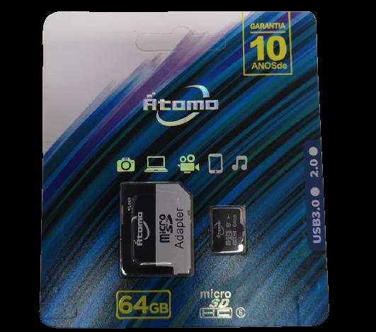 Cartão de memoria 64GB micro SD 2.0 Átomo