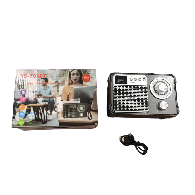 Radio Retro Caixa de Som Portatil Bluetooth Recarregavel YS-706BT