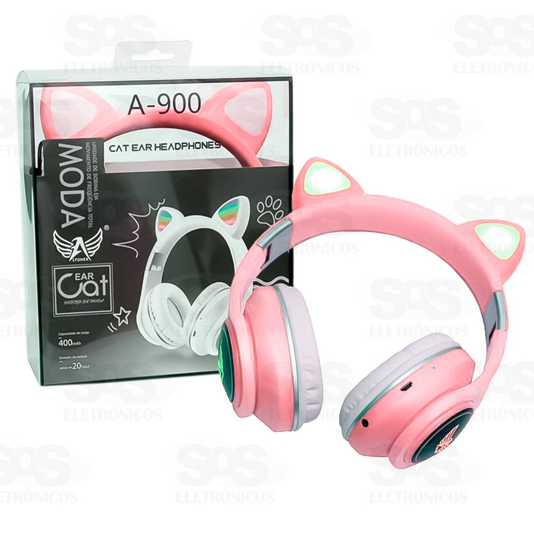 Fone de Ouvido Orelha de Gato Bluetooth 5.0 - Headset Com LED Altomex A-900