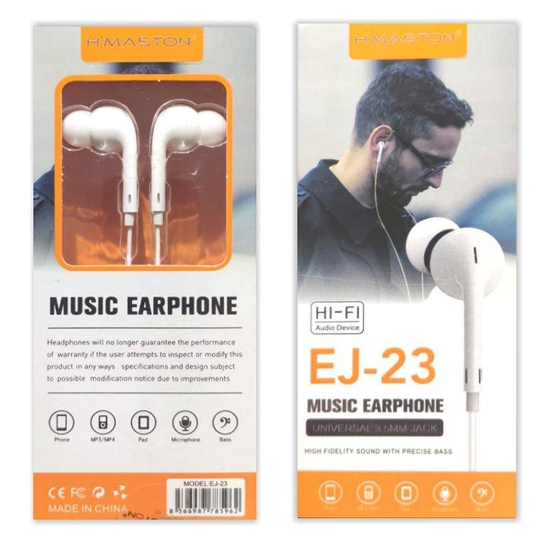 Fone de Ouvido Stereo com Microfone H'maston EJ-23