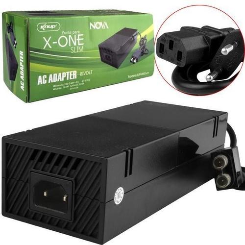 Fonte Para Xbox One 2 Pinos + Cabo De Força Bivolt 110v/220v