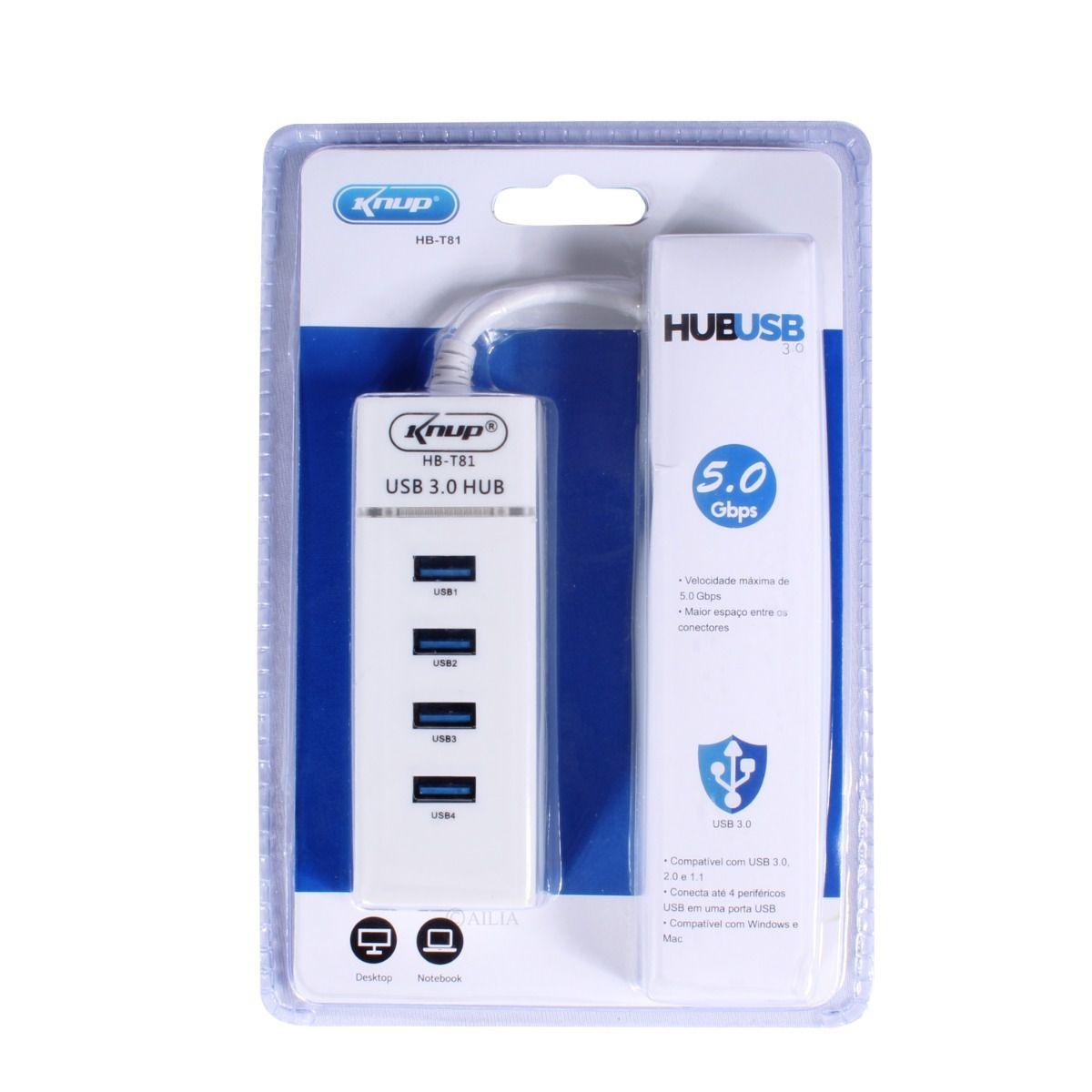 Hub Usb 3.0 4 Portas Switch Knup Hbt81 Alta Velocidade 5gbps