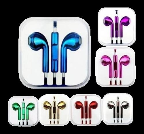 Kit Com 4 Fones De Ouvido P2 Cores Sortidas Metalizado Na Caixa Acrílica