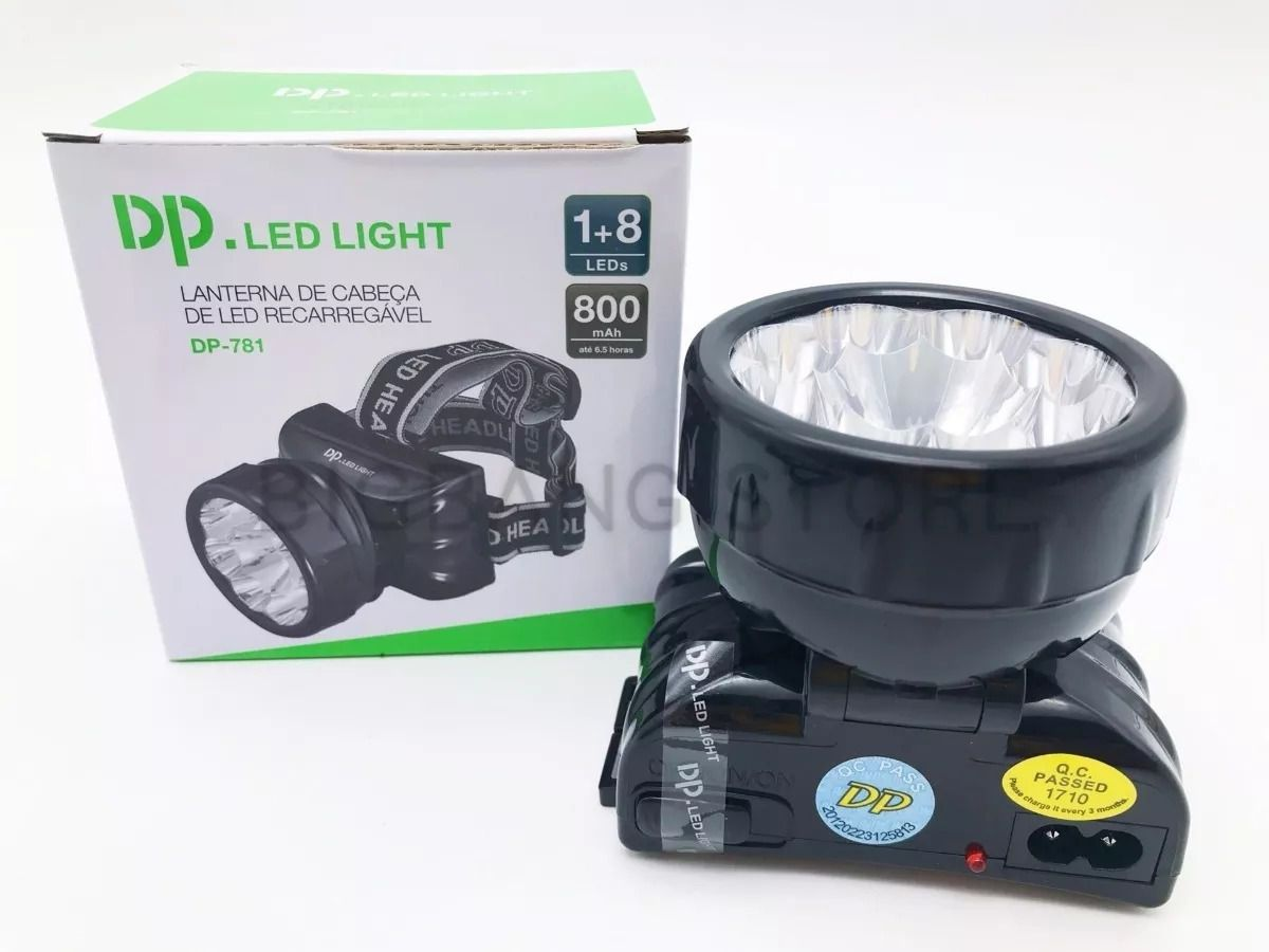 Lanterna De Led Profissional Para Cabeça Dp-781 Recarregável