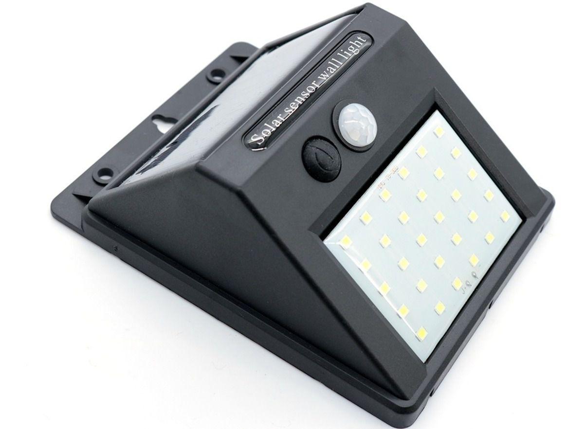 Luminária Solar de Parede 30 Led Sensor Movimento Externa