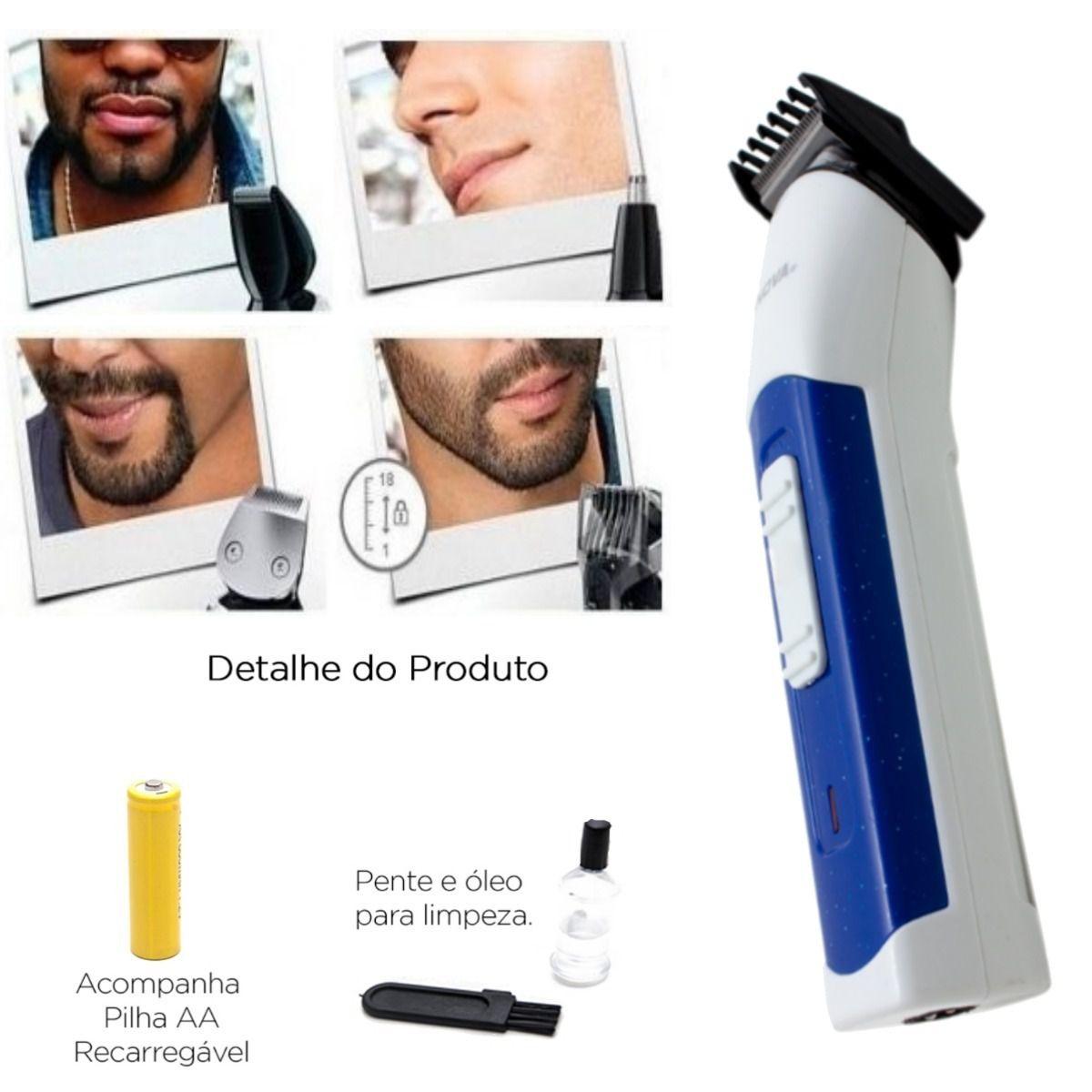 Máquina 3 In 1 Nova Cortar Cabelo Aparar Barba E Pelos Nariz