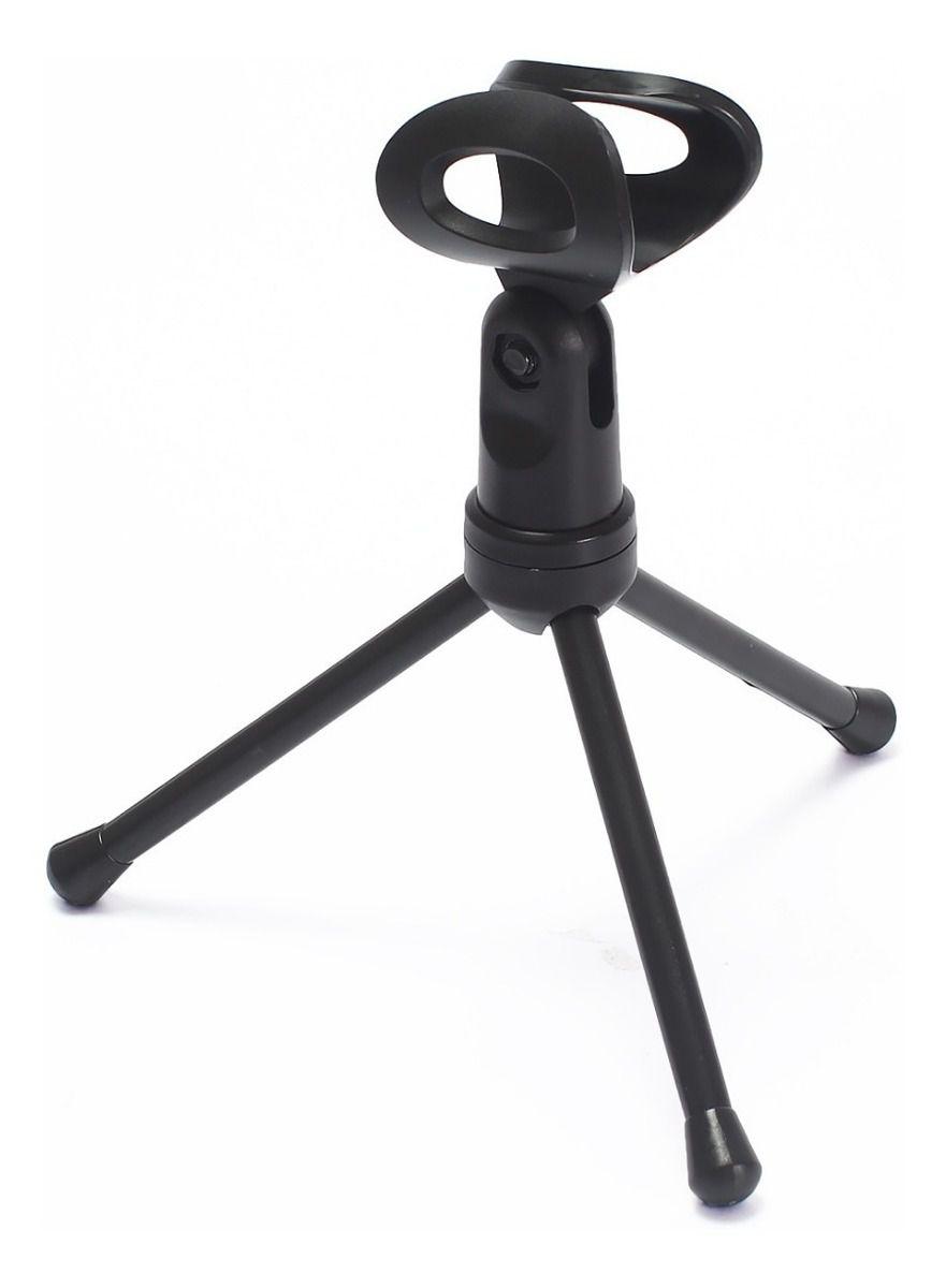 Microfone Condensador P2 Com Tripé Gravação Profissional