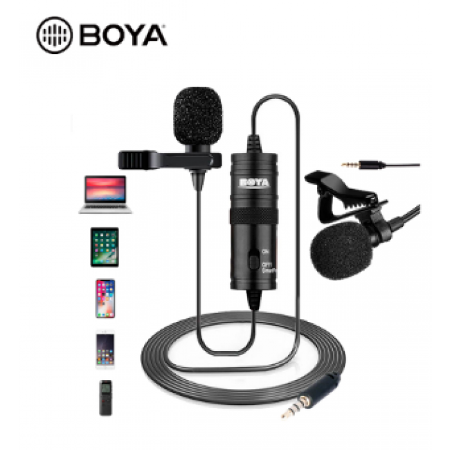 Microfone de Lapela BOYA BY-M1, Omnidirecional - Preto
