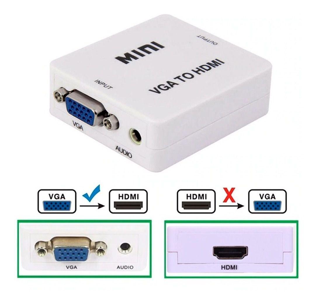 Mini conversor VGA para HDMI com conector adaptador de audio