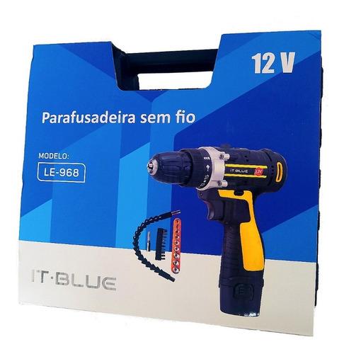 Parafusadeira Recarregável 12v Acessórios Incluso  IT BLUE