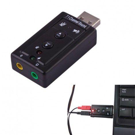 Placa De Som USB 7.1 Canais Notebook Pc Adaptador Audio
