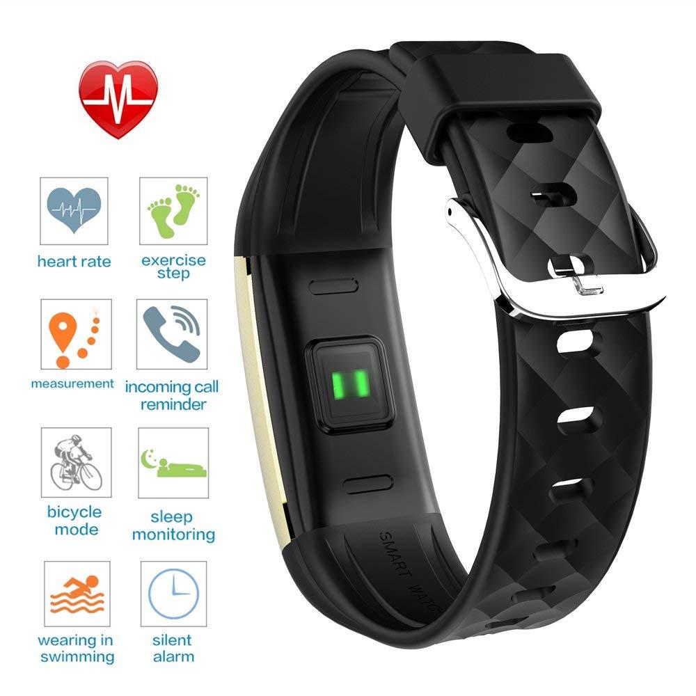 Pulseira Inteligente S2 Freqüência Cardíaca Atividade Saúde (Ouro / Preto)