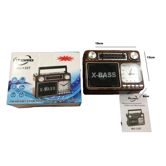 Radio Retro Caixa de Som Portatil Bluetooth Recarregavel MO-135T