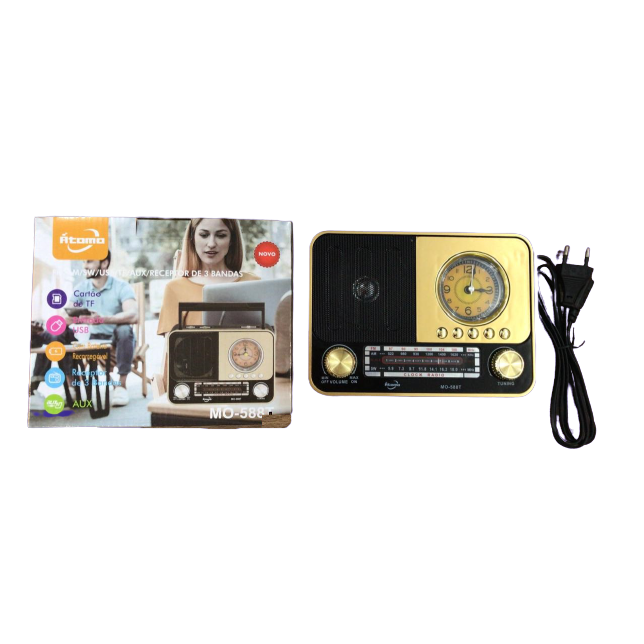 Radio Retro Caixa de Som Portatil Bluetooth Recarregavel MO-588T