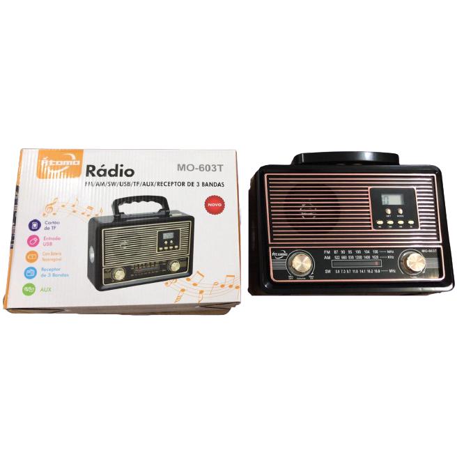 Radio Retro Caixa de Som Portatil Bluetooth Recarregavel MO-603T