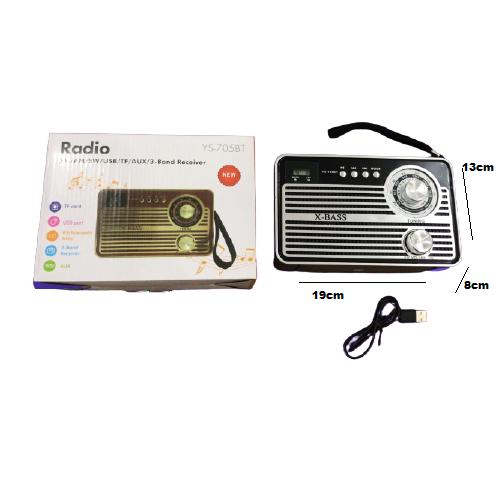 Radio Retro Caixa de Som Portatil Bluetooth Recarregavel YS-705BT