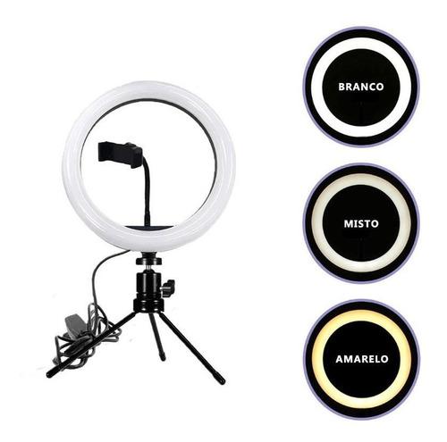 Ring light 6 polegadas com tripé de mesa usb 16cm + suporte para smartphone