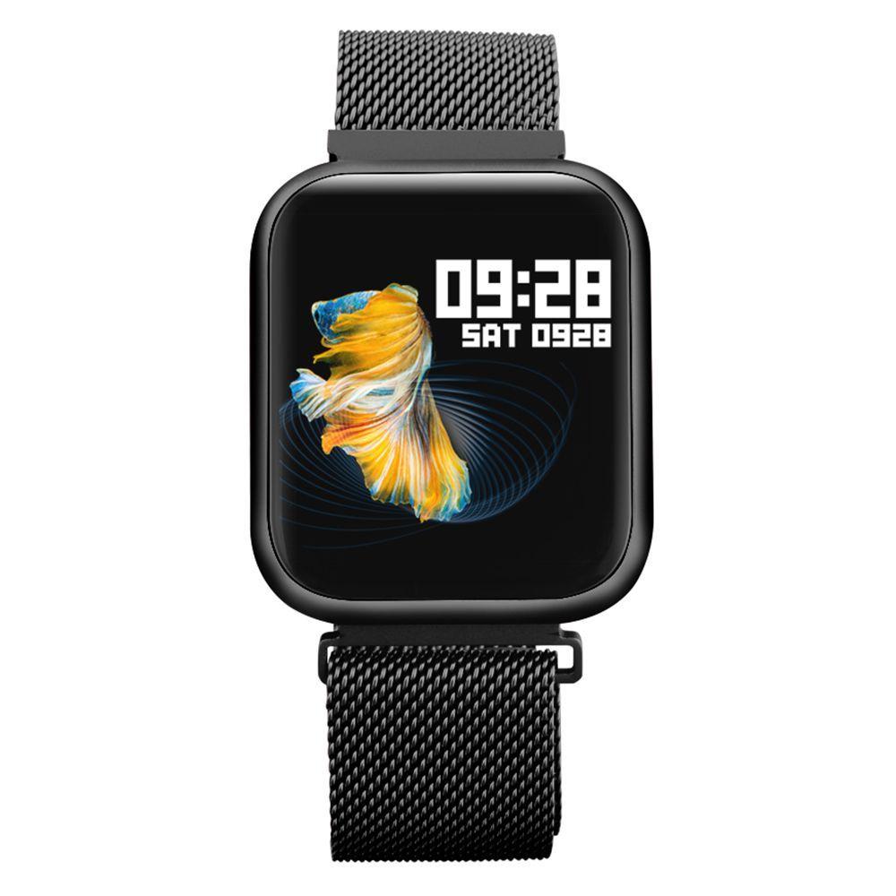 Smartwatch P80 Touch Preto com 2 Pulseiras Sendo uma de aço