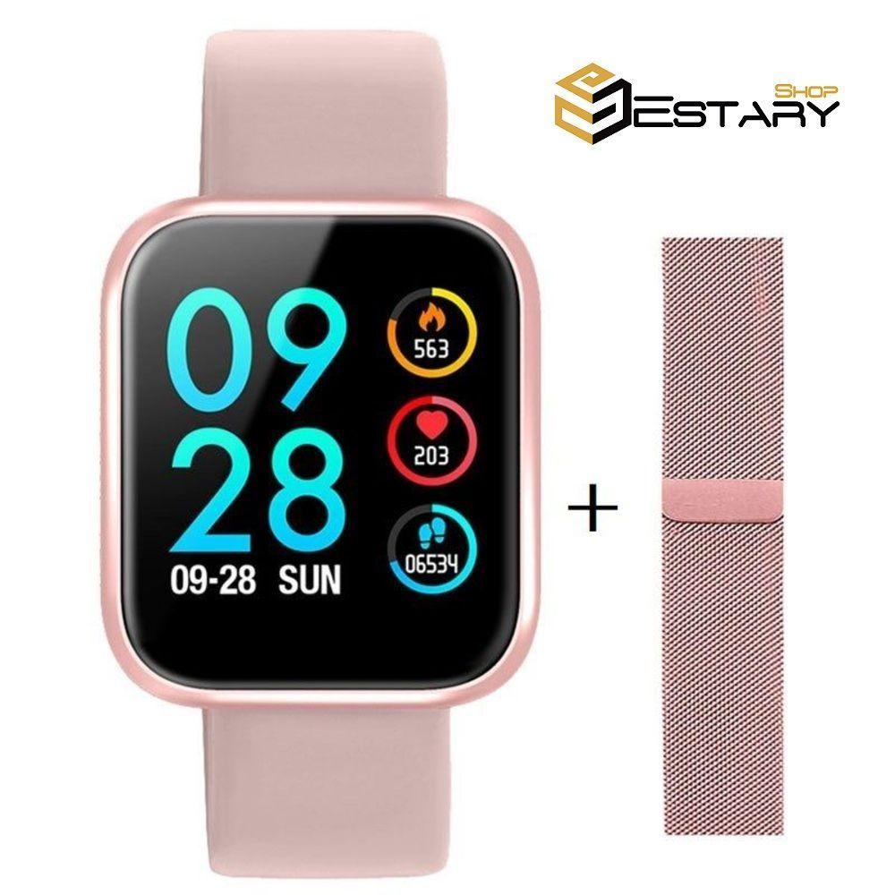 Smartwatch P80 Touch Rose com 2 Pulseiras Sendo uma de aço
