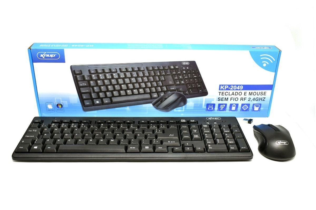Teclado E Mouse Sem Fio Kp-2049