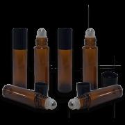 10 Frascos Rollon 10 ml (Frasco Vidro Âmbar Rollon  Premium com Tampa Preta/Prata)