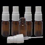 5 Frascos Spray 20ml - Vidro Âmbar com Válvula Branca