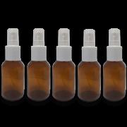 5 Frascos Spray 30ml - Vidro Âmbar com Válvula Branca