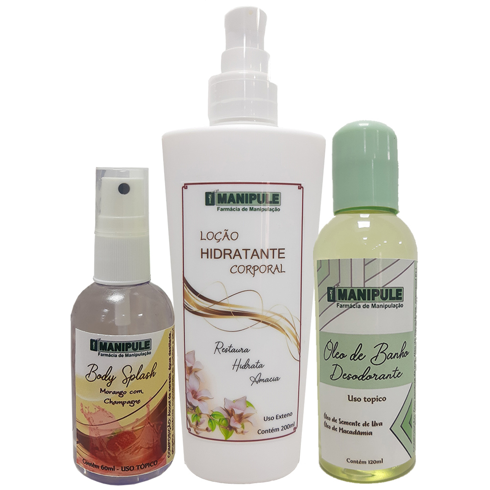 Kit Loção Hidratante Corporal + Óleo de Banho Hidratante + Body Splash  - Manipule - Farmácia de Manipulação