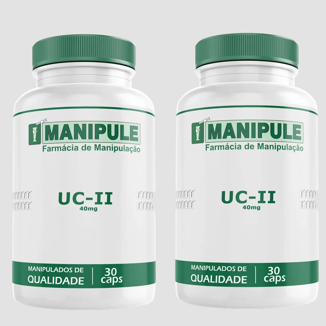 UC-II (Colágeno tipo II) 40mg - 2 Potes - 30 Cápsulas cada  - Loja Online | Manipule - Farmácia de Manipulação