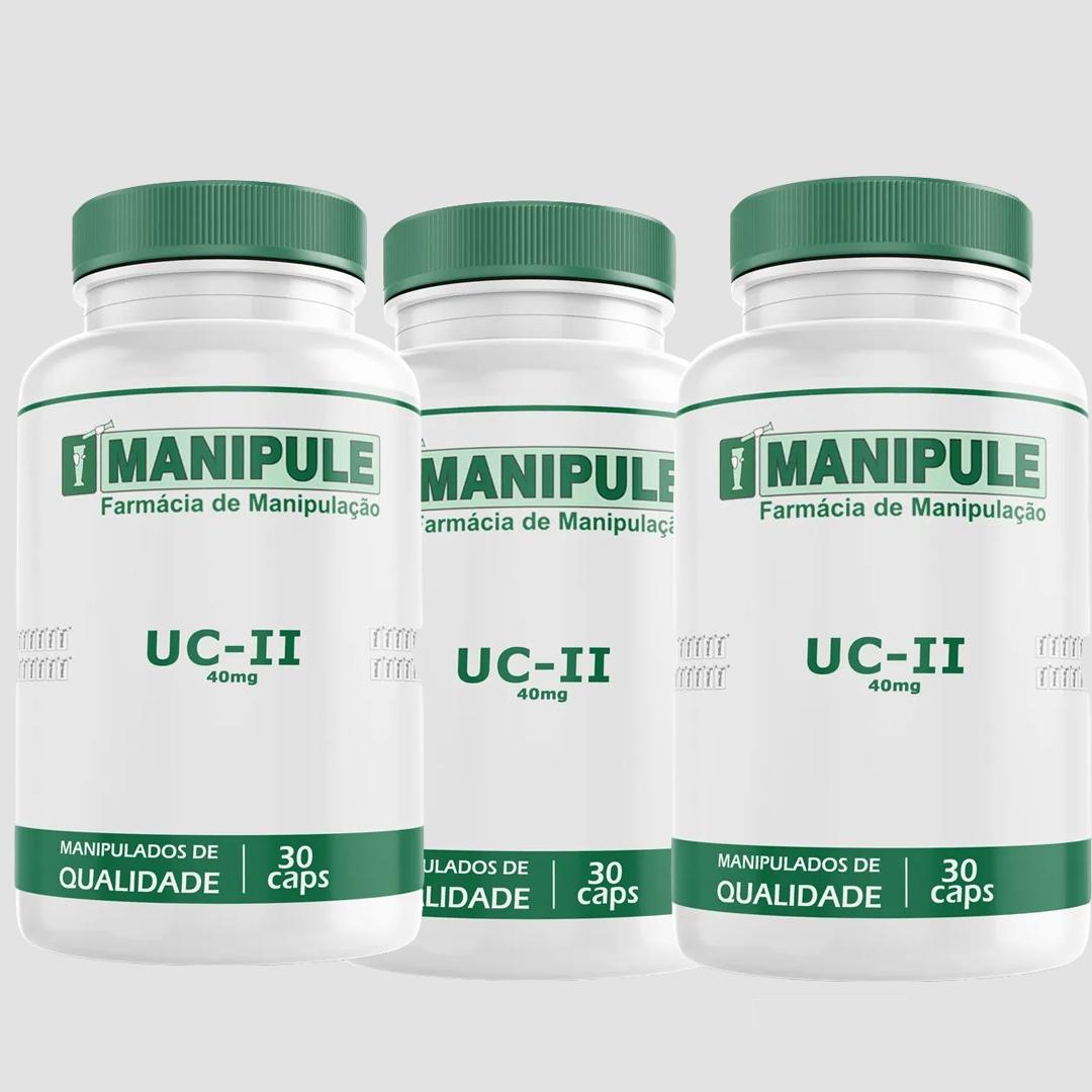UC-II (Colágeno tipo II) 40mg - 3 Potes -  30 Cápsulas cada  - Manipule - Farmácia de Manipulação