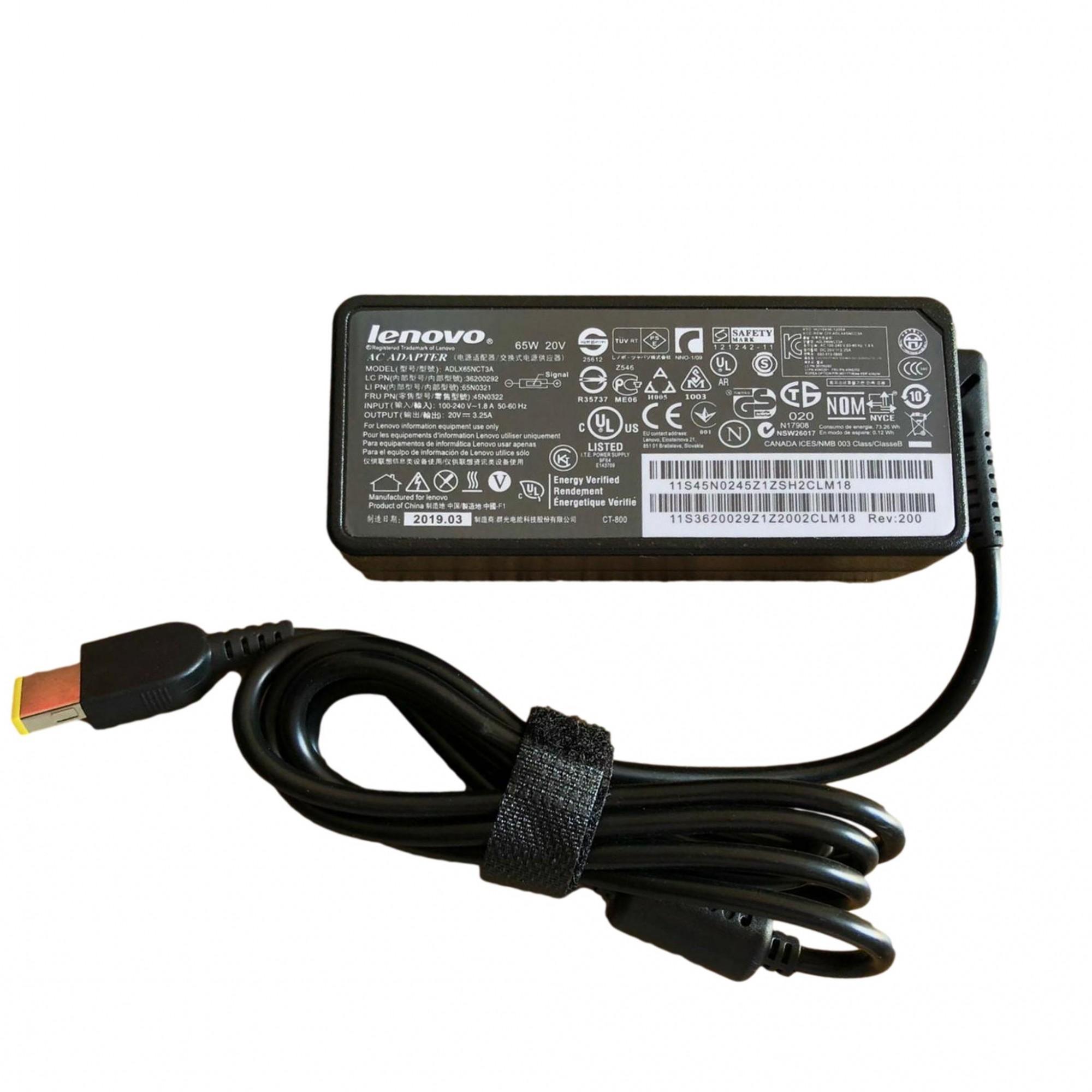 Fonte Carregador Notebook Lenovo 20v 3.25a 65w Plug USB