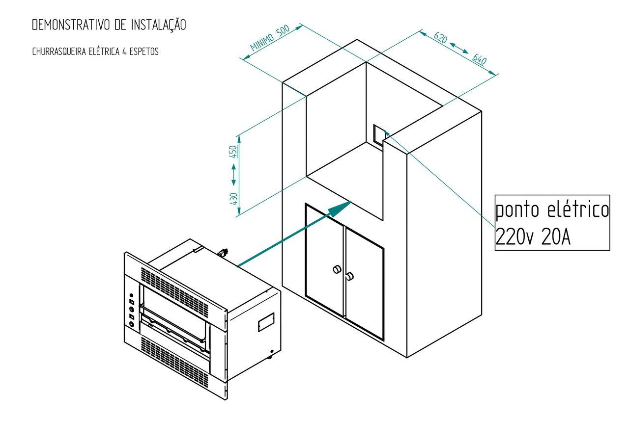 Churrasqueira Elétrica - 1 Galeria - 4 Espetos - Embutir - Linha Gourmet - 220V