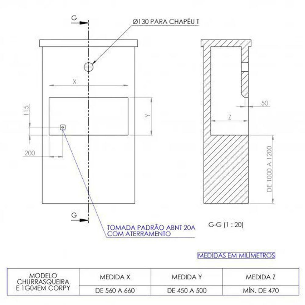Churrasqueira Elétrica - 1 Galeria - 4 Espetos - Embutir - Linha Level - 220V - Inox AISI