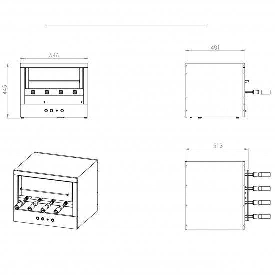 Churrasqueira Elétrica - 1 Galeria - 4 Espetos - Balcão - Linha Corpy - 220V - Inox 304